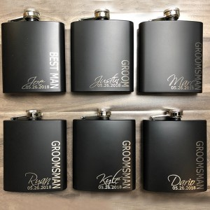 Personalized Black Sign Design Groomsmen Flask (One Flask is 17.99)
