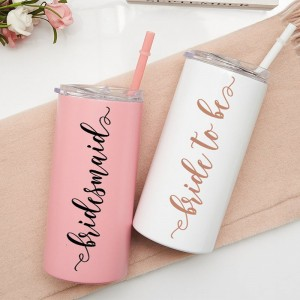 Stainless Steel Skinny Tumbler 12 oz Bridesmaid Tumbler