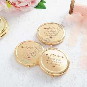 Gold Customized Engraved Bridesmaid Mirror
