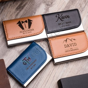 Custom Engraved Leather Business Card Holder
