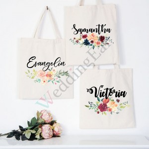 Customized Bridesmaid Print Tote Bag