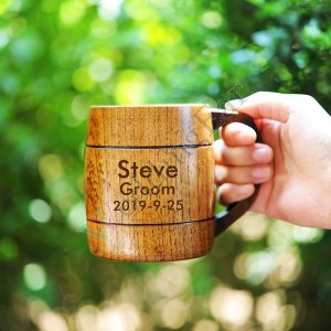 Customized Groomsman Gift Wood Beer Mug
