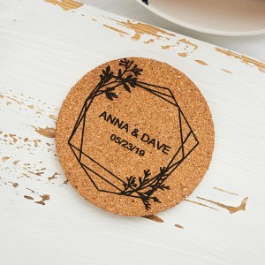 Made of Corkn Personalized Wedding Favor Coaster Set of 5