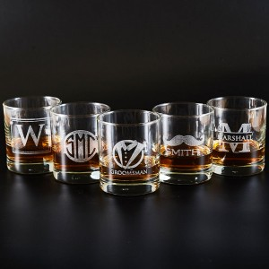 Personalized Groomsmen Whiskey Glasses/Engraved Rocks Glass
