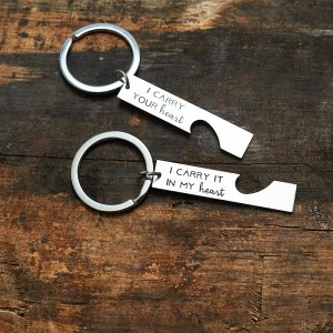 Personalized Half Heart Bar Keychain Set For Couples