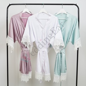 Sale! Personalized Vinyl Bridesmaid Robe with White Lace