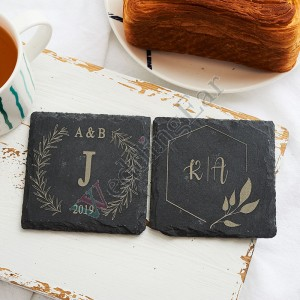 Customized Wedding Favor Gift Circle Slate Coaster Set