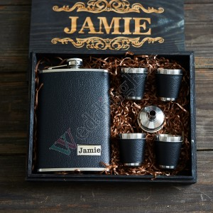 Engraved Groomsmen Flask Set With Free Box