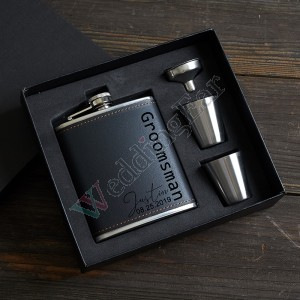 Personalized Black Leather Sign Design Flask