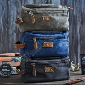 Personalized Canvas and Genuine Leather Dopp Kit