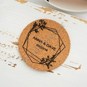 Unique Design 5 Set Corkn Wedding Favor Personalized Coaster