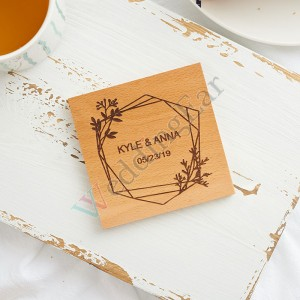 Wood Personalized Engraving Wedding Favor gift Coaster